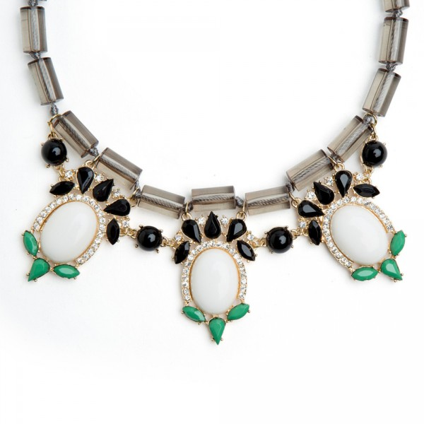 Colorblock White Stone Statement Necklace