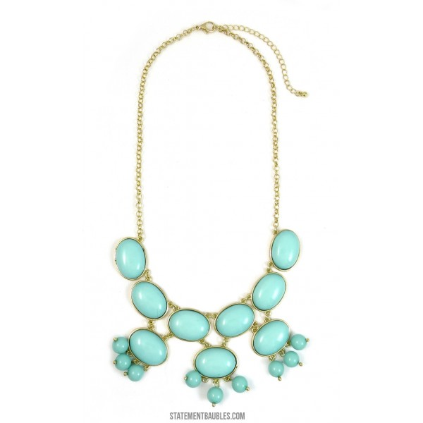 Mint Bubble Cabochon Princesse Statement Necklace