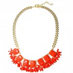 Neon Orange Stone Fringe Statement Necklace