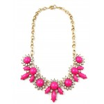 Neon Pink Crystal Petal Cabochon Stone Mix Statement Necklace