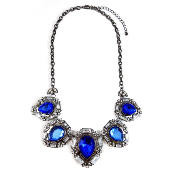 Sapphire Iced Teardrop Gemstone Statement Necklace