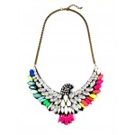 Rainbow Phoenix Marquise Cluster Statement Necklace