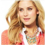 Ombre Pink Square Stone Cascade Statement Bib Necklace