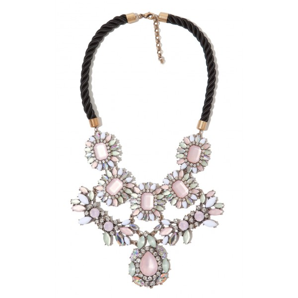 Pink Marquise Stones Statement Necklace