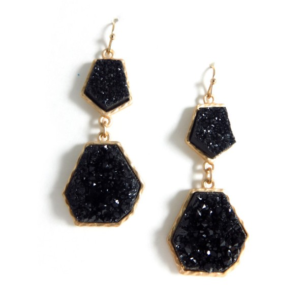Noir Geometric Druzy Stone Earrings