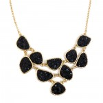Noir Mini Geode Druzy Stone Link Bib Necklace
