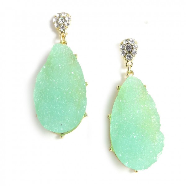 Mint Geode Agate Druzy Stone Teardrop Stud Earrings
