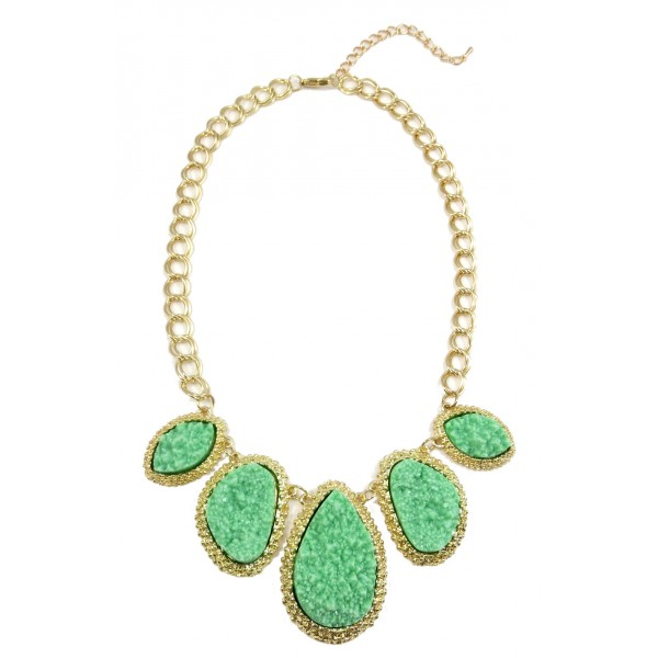 Mint Mojova Geode Druzy Stone Bib Necklace