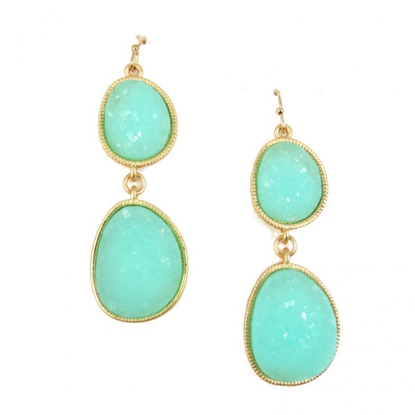 Mint Duo Geode Druzy Stone Drop Earrings