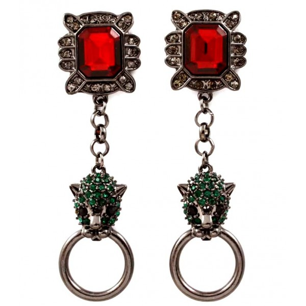 Shah Royal Ruby Emerald Encrusted Leopard Head Statement Earrings