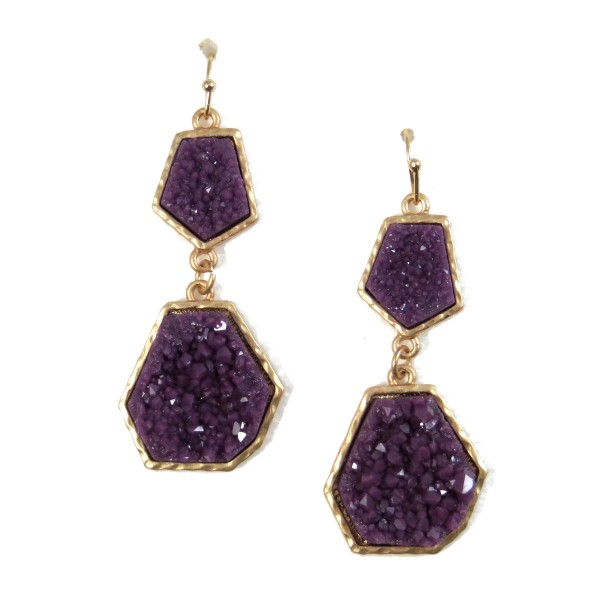 Amethyst Geometric Geode Statement Earrings