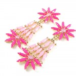 Hot Pink Marquise Floral Statement Drop Earrings