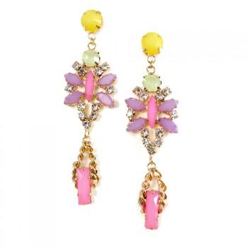 Pastel Marquise Crystal Statement Stud Drop Earrings
