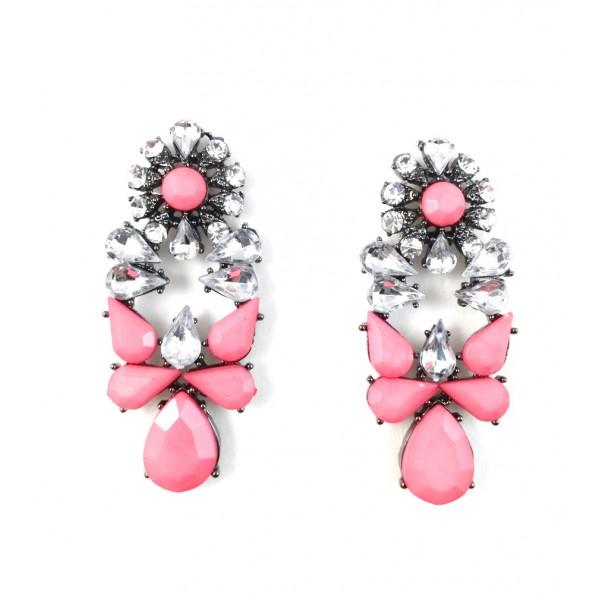 Mia Crystal Salmon Bauble Statement Earrings