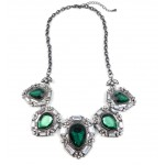 Emerald Glam Iced Bezel Statement Necklace