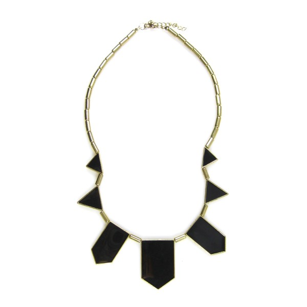 Harlow Black Enamel Five Station Geometric Necklace