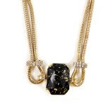 Onyx Stone Gold Flakes Statement Necklace