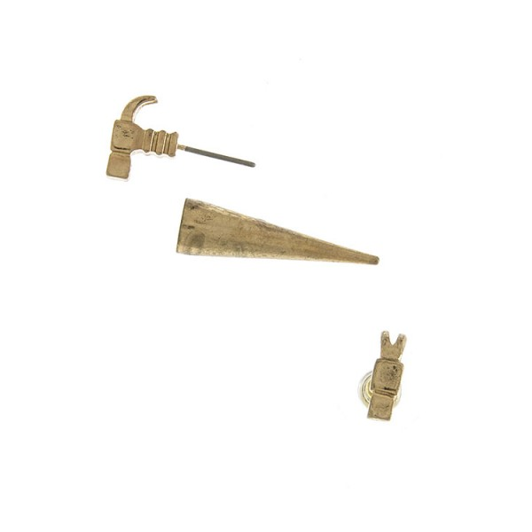 HAMMER TIP SPIKE DOUBLE STUD EARRINGS
