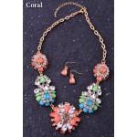 Pastel Crystal Flower Bouquet Neon Stones Bridal Statement Necklace