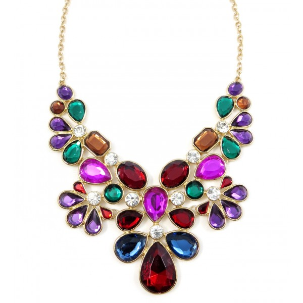 Krishna Jewel Toned Gemstone Floral Statement Necklace (Back in Stock)