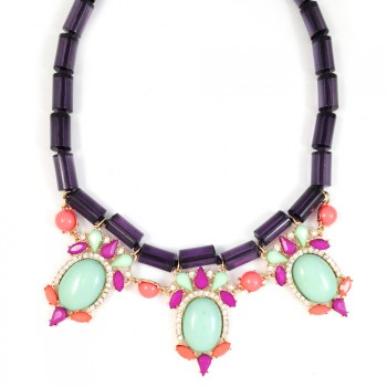 Scene Stealer Multicolored Cabochon Statement Necklace