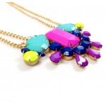 Neon Jewel Toned Stone Statement Necklace