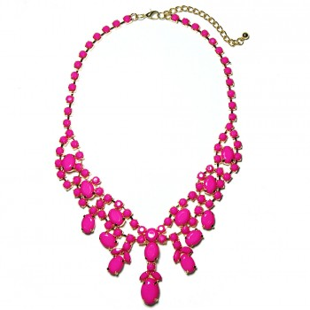 Hot Pink Stone Cluster Statement Bib Necklace