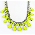 Neon Yellow Teardrop Resin Stone Statement Necklace