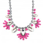 Diamante Neon Pink Floral Bib Necklace