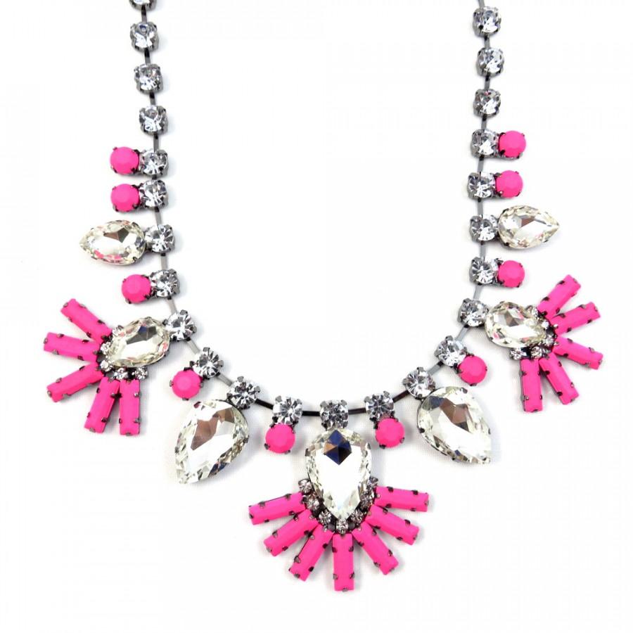 Diamante Neon Pink Floral Bib Necklace