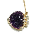 Spike Amethyst Druzy Heart Crystal Pendant Necklace