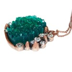 Spike Emerald Druzy Crystal Pendant Necklace Copper Chain