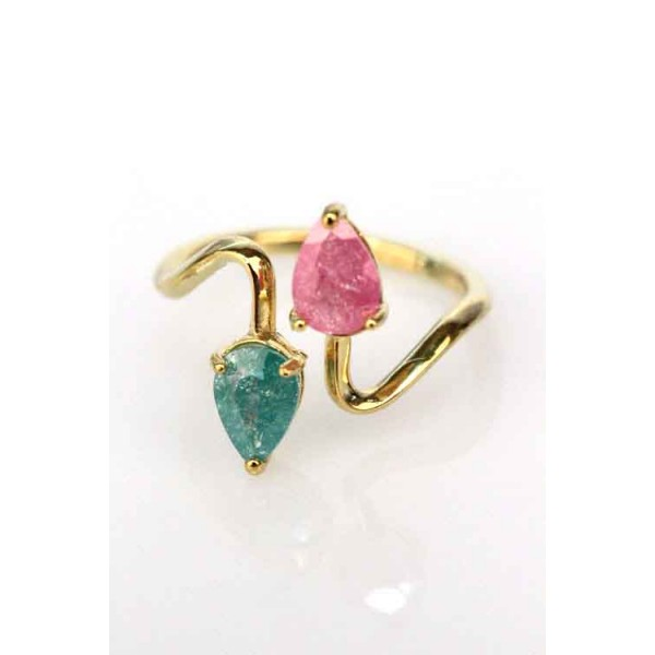 Dainty Duo Tone Gem Gold Ring