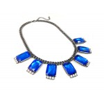 Adair Sapphire Station Gemstone Gunmetal Statement Necklace