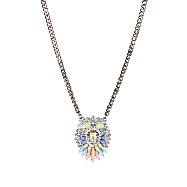 Rainbow Feathered Crystal Burst Pendant Statement Necklace