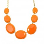 Coral Polka Gem Bib Necklace