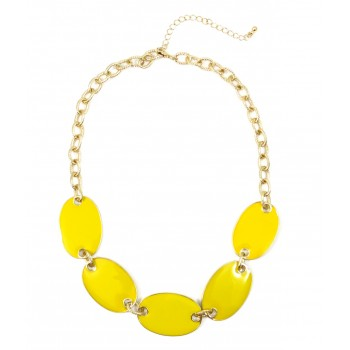 Lemon Enamel Elliptic Station Statement Necklace