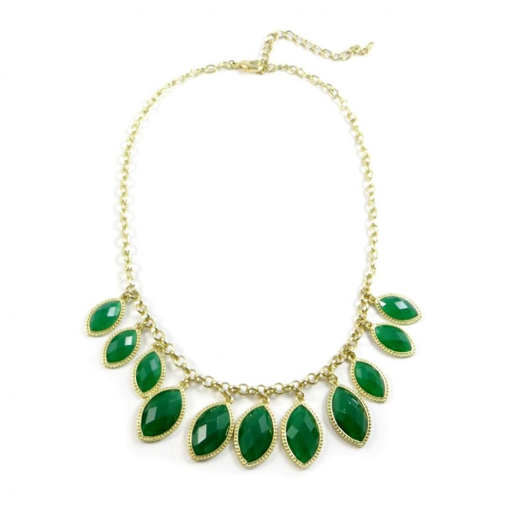 Emerald Laurel Stone Strand Necklace - photo#50