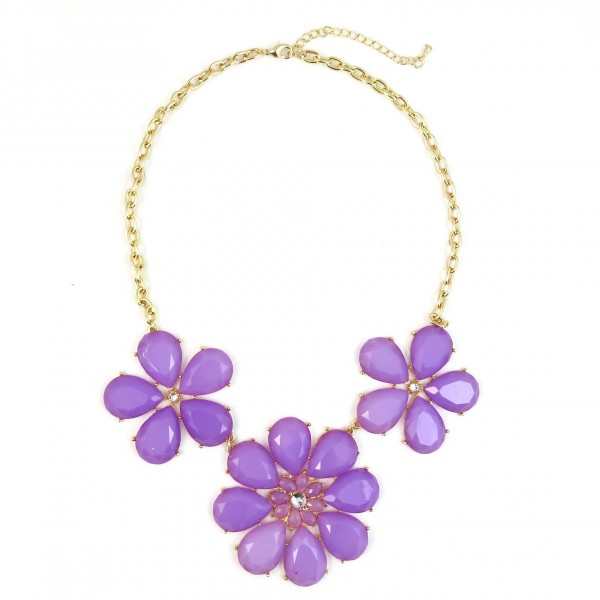 Lavender Stone Daisy BLoom Statement Necklace