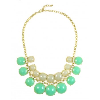 'Eunomia' Mint Mirrored Faceted Stone Necklace