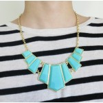 Mint Geometric Resin Stone Panel Bib Necklace