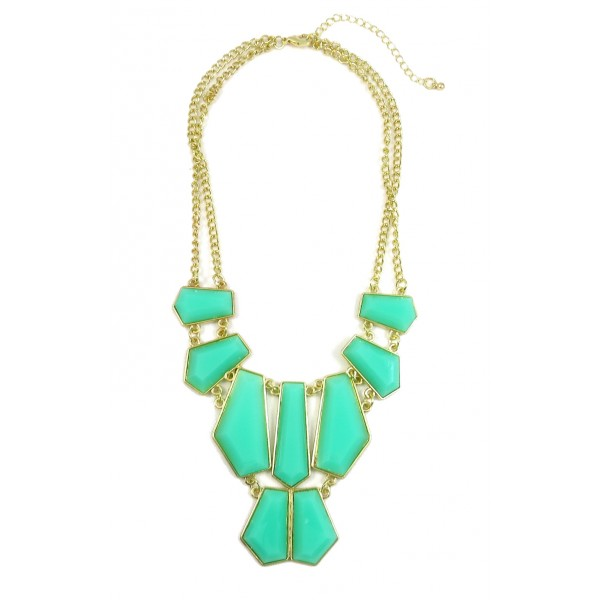 Mint Geometric Resin Stone Chunky Statement Necklace