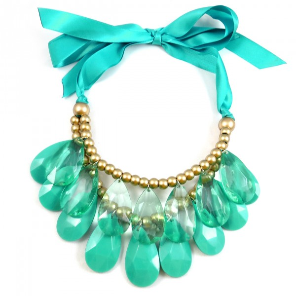 Jade Bijoux Teardrop Stone Tiered Chunky Statement Necklace