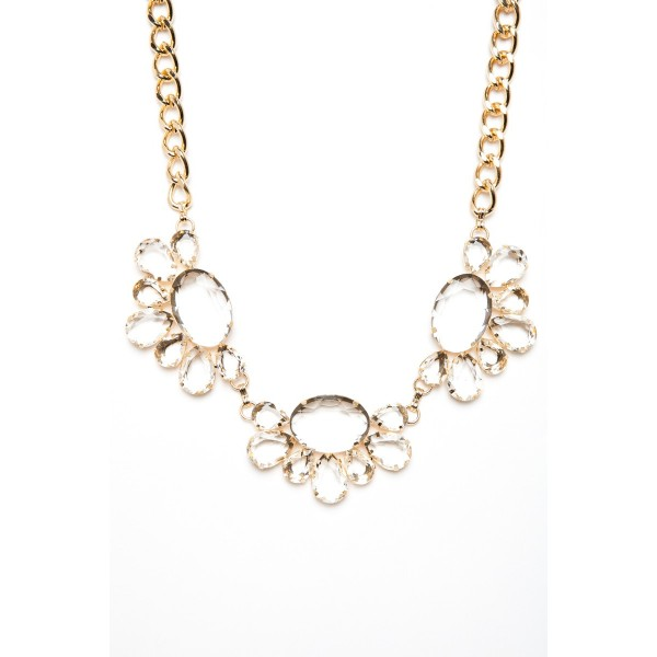 Iced Floral Crystal Gem Bib Necklace