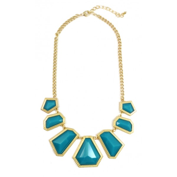 Teal Hex Bib Necklace
