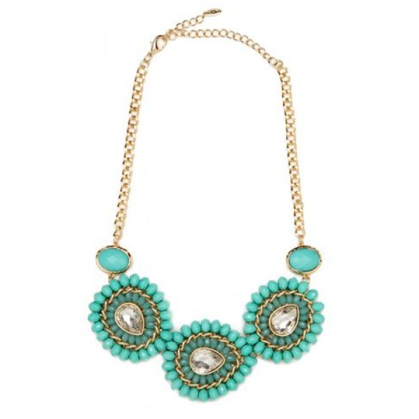 Mint Gemstone Bloom Statement Necklace