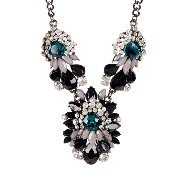 Noir Princess Emerald Marquise Cluster Statement Necklace