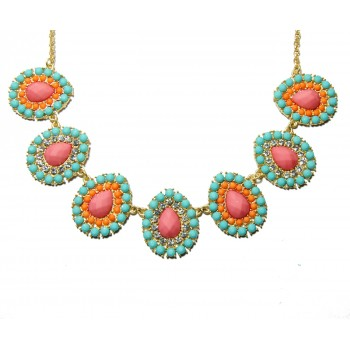 Pastel Beaded Teardrop Gem Statement Bib Necklace