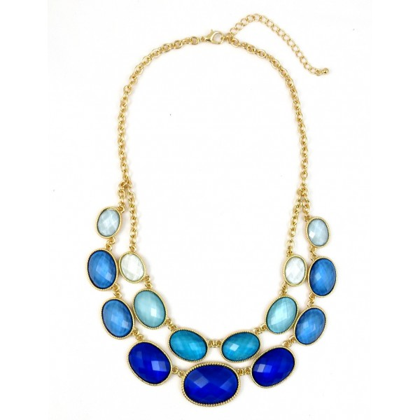 Ombre Cobalt Oval Double Row Bib Necklace