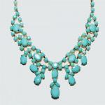 Aquamarine Stone Cluster Statement Bib Necklace